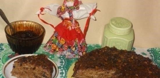 Блинный торт с черносливом и орехами кулинарный рецепт