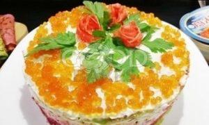 Блинный торт с форелью и красной икрой рецепт шаг 18