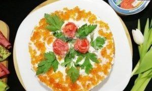 Блинный торт с форелью и красной икрой рецепт шаг 19
