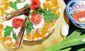 Блинный торт с форелью и красной икрой рецепт шаг 20