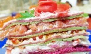 Блинный торт с форелью и красной икрой рецепт шаг 21