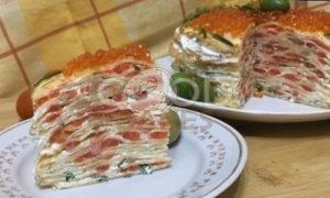 Блинный торт с форелью и красной икрой рецепт шаг 9