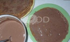 Блинный торт «Шоколадное удовольствие» рецепт шаг 12