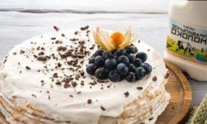 Блинный торт со сметанным кремом кулинарный рецепт