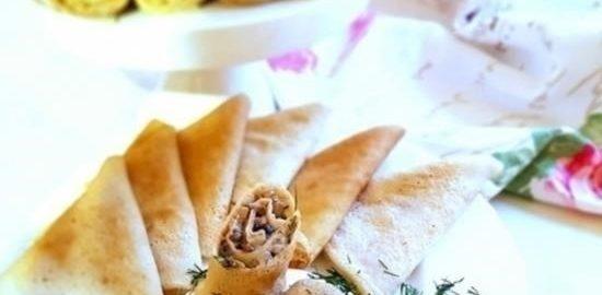 Блины с грибным жюльеном кулинарный рецепт