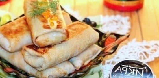 Блины с капустой и икорным соусом кулинарный рецепт