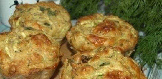 Кабачковые маффины с сыром, зеленью и вялеными томатами кулинарный рецепт