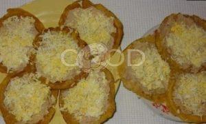 Кукурузные мини-блинчики с паштетом из тунца и яйцами рецепт шаг 13