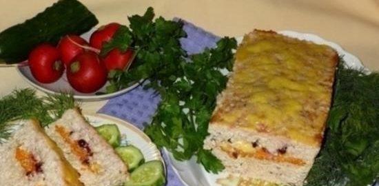 Мясной хлеб с начинкой кулинарный рецепт