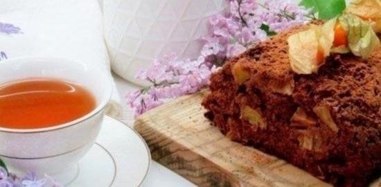 Шоколадный нутовый кекс с ананасами кулинарный рецепт