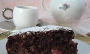 Шоколадный пирог с вишней и миндалем кулинарный рецепт