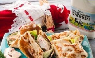 Ажурные блинчики с курицей и шампиньонами кулинарный рецепт