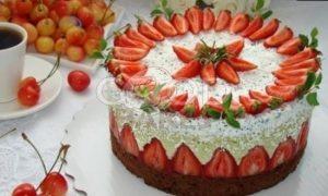 Муссовый торт «Фисташка-клубника» рецепт шаг 15