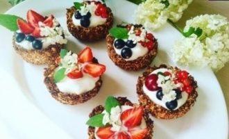 Овсяные корзиночки с йогуртом кулинарный рецепт