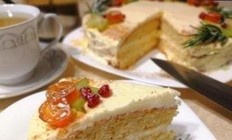 Бисквитный торт с творожно-сливочным кремом кулинарный рецепт