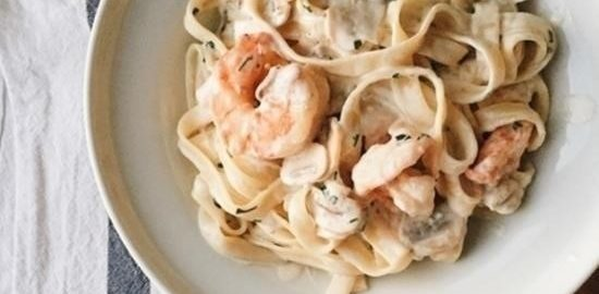 Паста с креветками и шампиньонами кулинарный рецепт