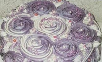 Торт с розочками кулинарный рецепт