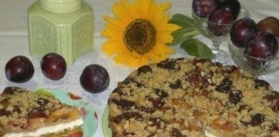Творожный пирог с фруктами кулинарный рецепт