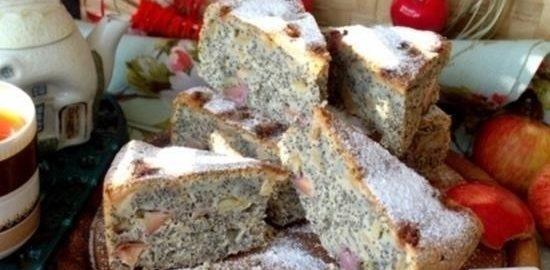 Маковый пирог с яблоками кулинарный рецепт
