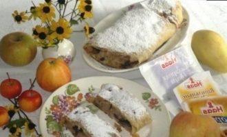 Штрудель с грушами, яблоками и изюмом кулинарный рецепт