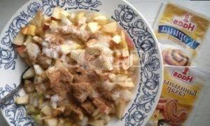 Штрудель с грушами, яблоками и изюмом рецепт шаг 8
