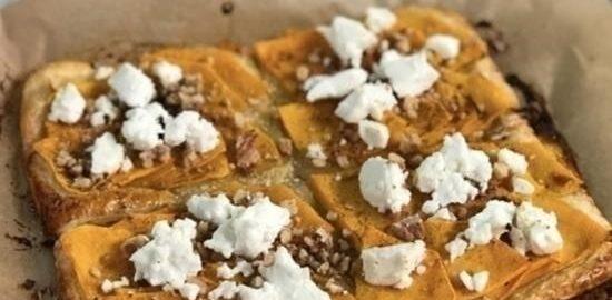 Открытый пирог с тыквой и сыром фета кулинарный рецепт