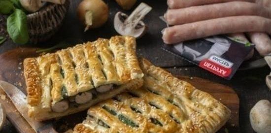 Пирожки из слоеного теста с колбасой кулинарный рецепт
