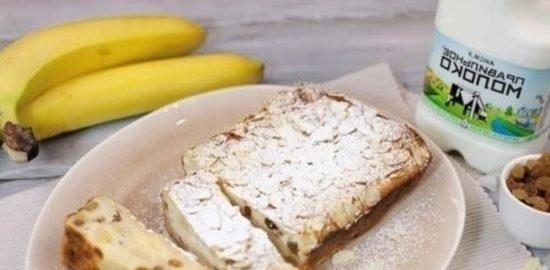 Творожная запеканка с бананом и изюмом кулинарный рецепт