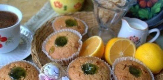 Лимонные кексы с цукатами и джемом кулинарный рецепт
