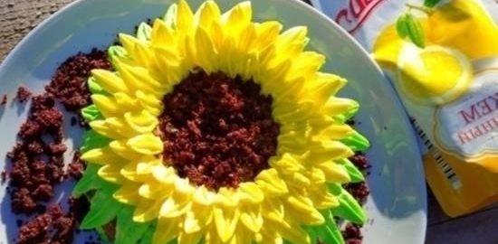 Мини-тортик «Подсолнух» с лимонным джемом кулинарный рецепт