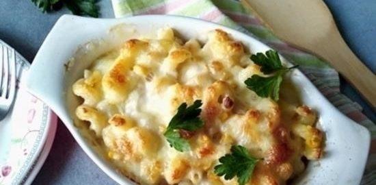 Рыбная запеканка с макаронами и моцареллой кулинарный рецепт