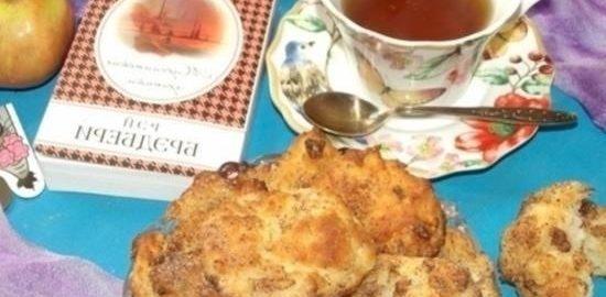 Творожное печенье с яблоками и корицей кулинарный рецепт