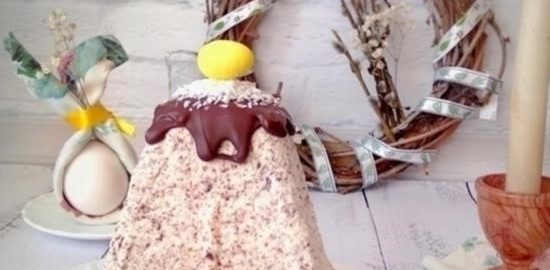 Творожная пасха с тертым шоколадом и кокосом кулинарный рецепт