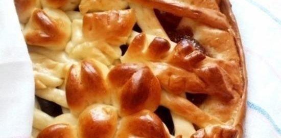 Открытый пирог с яблочным повидлом кулинарный рецепт
