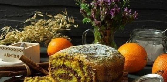 Пирог «Апельсиновая зебра» кулинарный рецепт