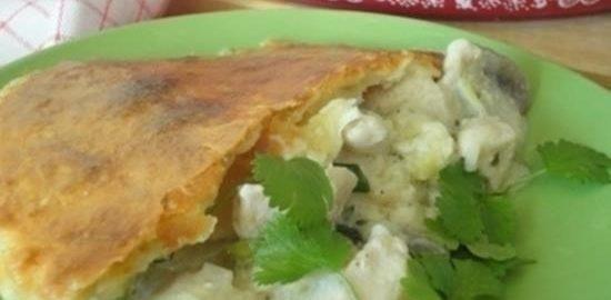 Пирог с цыпленком, грибами и чеддером кулинарный рецепт