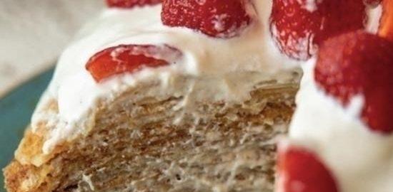 Безглютеновый блинный торт с кремом из кешью кулинарный рецепт