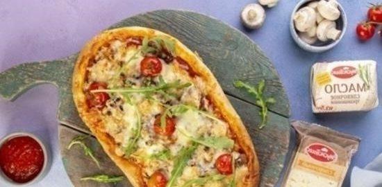 Пицца с фаршем и грибами кулинарный рецепт