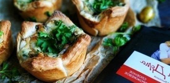 Слойки с грибами и сыром кулинарный рецепт