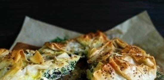 Спанакопита (греческий пирог со шпинатом) кулинарный рецепт
