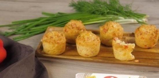 Закусочные маффины с ветчиной кулинарный рецепт