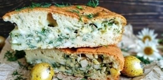 Заливной пирог с яйцами и зеленью кулинарный рецепт