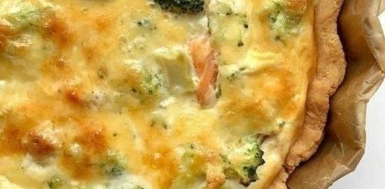 Киш с красной рыбой и брокколи кулинарный рецепт