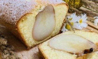Бисквитный пирог с грушей кулинарный рецепт
