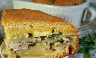 Домашний пирог с мясом и сыром кулинарный рецепт
