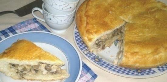Пирог с курицей, грибами и цветной капустой кулинарный рецепт