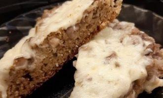 Открытый пирог с грибами кулинарный рецепт