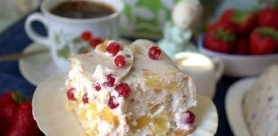 Торт-желе с брусникой кулинарный рецепт
