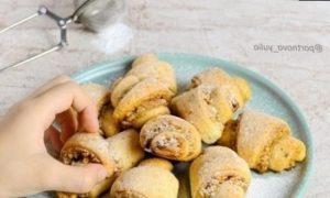 Творожные рогалики с ореховой начинкой кулинарный рецепт