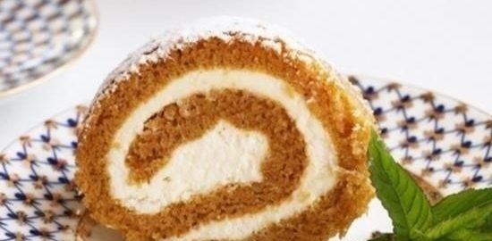 Тыквенный рулет из шифонового бисквита кулинарный рецепт